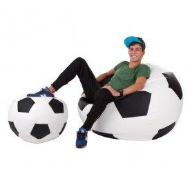 Jalkapallo säkkituoli ja rahi PUFFA XXXL + L koko, PU-nahka