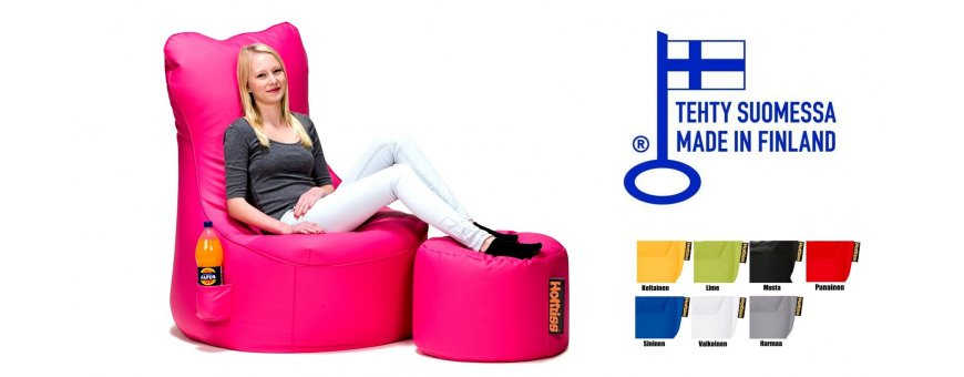 Valmiiksi tuolin mutoinen säkkituoli on käyttövalmis. Säkkituolit toimitus veloituksetta 0€